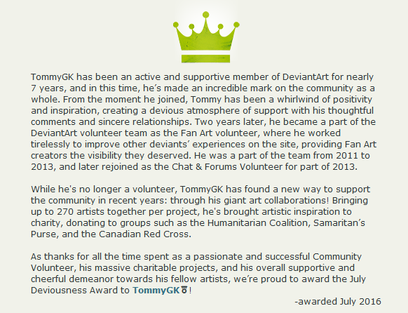 Tommy deviousness award on deviantart